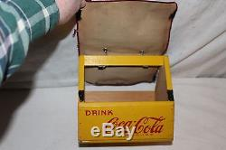 Rare Unusual Vintage 1940's Wood Coca Cola Soda Pop 6 Bottle Carrier Sign