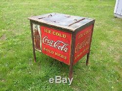 Rare Vintage 1920s Coca Cola Cooler General Store Fixture Wood Metal Original