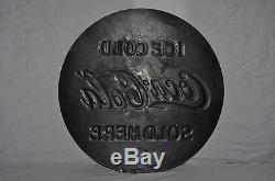 Rare Vintage 1932 Coca Cola Coke 20 Single Sided Embossed Metal Sign