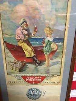 Rare Vintage 1936 Coca Cola Calendar 50th Anniversary 1886-1936 Original Framed