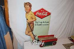 Rare Vintage 1938 Coca Cola 6 Bottle Carton Display Boy Wagon Soda Pop 32 Sign