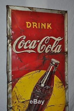 Rare Vintage 1938 Coca Cola Coke 54 Single Sided Embossed Metal Sign