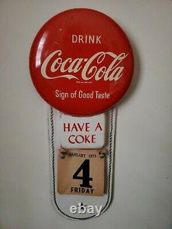 Rare Vintage 1950's Coca Cola Button Sign/calendar Near Mint