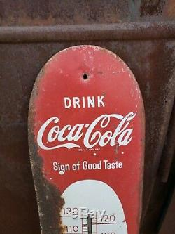 Rare Vintage 1950's Coca Cola Soda Pop 30 Metal Cigar Thermometer SignWorks