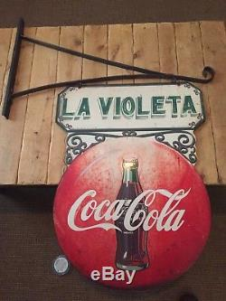 Rare Vintage 1952 Coca Cola Double Button 2 Sided Metal Flange Sign w bracket