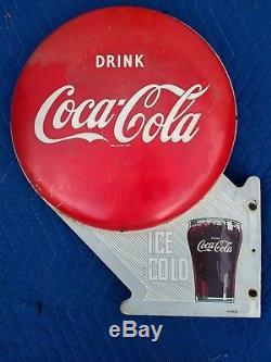 Rare Vintage Coca Cola Double Button Glass Flange Sign 6-49