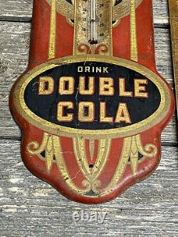 Rare Vintage Double Cola Steel Painted Thermometer Sign C. 1920s