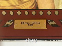 Rare Vintage Original Coca Cola BEACH GIRLS 1918 Cardboard 28 Advertising Sign