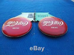 Rare Vintage Pair of Coca Cola Button Flange Signs 1950's