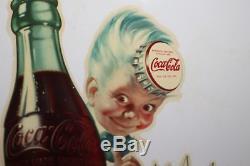 Rare Vintage c. 1950 Coca Cola Sprite Boy Button Soda Pop 16 Metal Sign