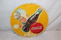 Rare Vintage c. 1950 Drink Coca Cola Sprite Boy Soda Pop Gas Station Metal Sign