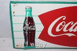 Rare Vintage c. 1960 Coca Cola Fishtail Soda Pop Bottle & Can 32 Metal Sign