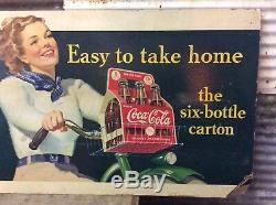 Rare Vtg 1940 Coca-Cola 43 x 21 Cardboard Sign Girl on Bicycle 6 Pack Bottles