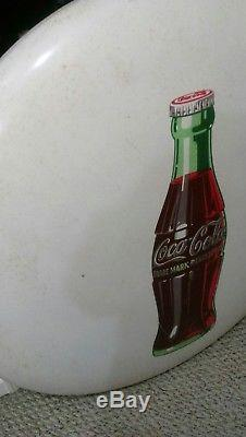 Rare White 36 Porcelain Enamel Coca Cola Button Coke Sign Vtg Advertising