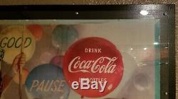 Rare original 1954 cardboard Coca Cola sign 20x36 Trapeze Girl framed gas oil