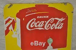 Rare vintage c1930 Coke Coca Cola 25 Double Sided Porcelain Sign