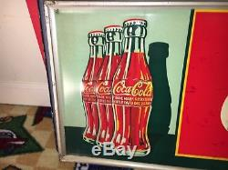 Reduced! Vintage Tin Multi-bottle Embossed Coke Coca-Cola Sign