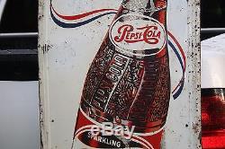 SCARCE 1930's 48 PEPSI-COLA EMBOSSED METAL SIGN FOOTBALL COKE SODA