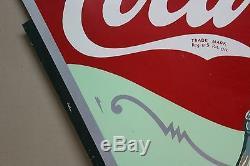 SCARCE 1930's DRINK COCA COLA 2-SIDED METAL SIGN BOTTLE SODA POP TEXAS COKE SEED