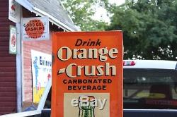 SCARCE 1930's DRINK ORANGE CRUSH SODA EMBOSSED METAL SIGN GAS OIL TEXAS COKE