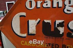 SCARCE 1930's ORANGE CRUSH EMBOSSED METAL SIGN CRUSHY COKE POP SODA PEPSI
