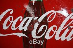 SCARCE 1950's 24 COCA-COLA PORCELAIN BUTTON SIGN GAS OIL FARM SEED STORE COKE