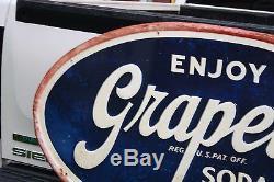 SCARCE 1950's 48 ENJOY GRAPETTE GRAPE SODA EMBOSSED METAL SIGN COKE POP