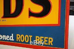 SCARCE 1950's NOS 55 DAD'S ROOT BEER EMBOSSED METAL SIGN A&W SODA POP COKE