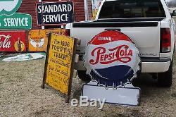 SCARCE 1950's PEPSI BOTTLE CAP EMBOSSED METAL SIGN SODA POP COKE COLA FOUNTAIN
