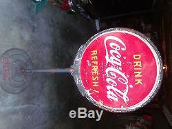 SUPER RARE Vintage Original Coca Cola DOUBLE SIDED PORCELAIN LOLLIPOP SIGN