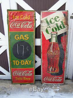 Scarce Original Coca Cola Embossed Metal Sign GAS TO-DAY Price 1934 Coke Adv