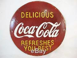Small Round Coca Cola Enamel Sign C1950's Porcelain Sign