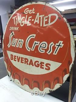 Sun Crest Vintage Antique Bottle Cap Advertising Sign Gas Oil Coca Cola Soda