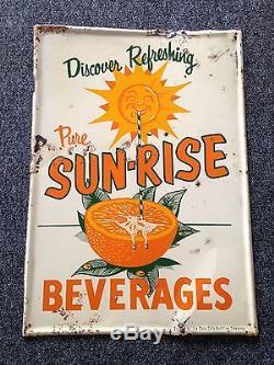 Sun-Rise Beverages Non Porcelain Metal Sign Diner Soda Coca-Cola 1950-60's NICE