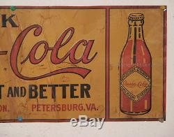 Super Rare Queen Cola Embossed Tin Sign Petersburg Virginia Atlantic Beverage Co