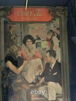 Super rare 1921 Coca Cola Adversting sign paper on cardboard, framed to high