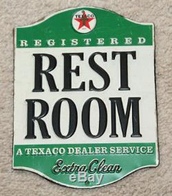 TEXACO REST ROOM SIGNS Metal Embossed Gas Service Station Petroleum Decor dad