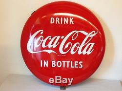 TRUE VINTAGE 24 COCA COLA BUTTON SIGN 1950s Porcelain Coke GENERAL STORE ART