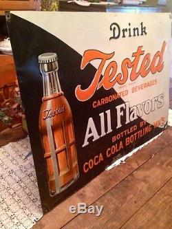 Tested Orange Soda Original Tin Sign Not Porcelain Very Rare Coca Cola