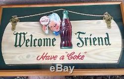 Too Mint 1944 Coca Cola Sprite Boy Welcome Friend Coke Sign Die Cut Cardboard