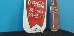 Two Vintage Coca Cola Porcelain Gas Beverage General Store Push Pull Door Signs