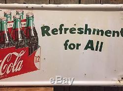 Ultra RARE Vintage 1954 COCA COLA Coke Bottle Carrier Pick Up 12 Metal Sign L@@K
