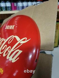 Used Coca-Cola Soda 12 Red Painted Button Advertising Sign