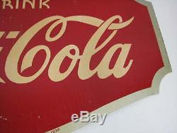 VINTAGE 1930's DRINK COCA-COLA DOUBLE-SIDED METAL FLANGE SIGN AAW