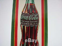 Vintage 1931 Drink Coca-cola 12-1/2 Tall Embossed Tin Metal Sign Dasco