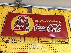 VINTAGE 1940's COCA-COLA BAG DISPENSER SIGN (in Near MINT Condition)