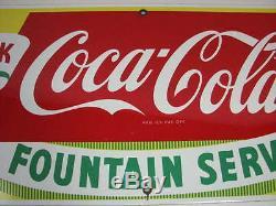 Vintage 1950's Drink Coca-cola Fountain Service Metal Porcelain Sign