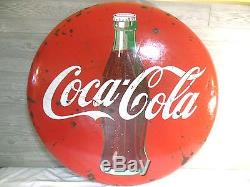 Vintage 1950's Large Coca Cola 48 Porcelain Button Bottle Sign