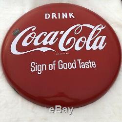VINTAGE 1950s Coke Button 24 Porcelain Drink Coca Cola Sign of Good Taste RARE