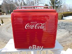VINTAGE 1955 COCA COLA CANADA PICNIC COOLER WithTRAY ST. THOMAS METAL SIGN RESTORED